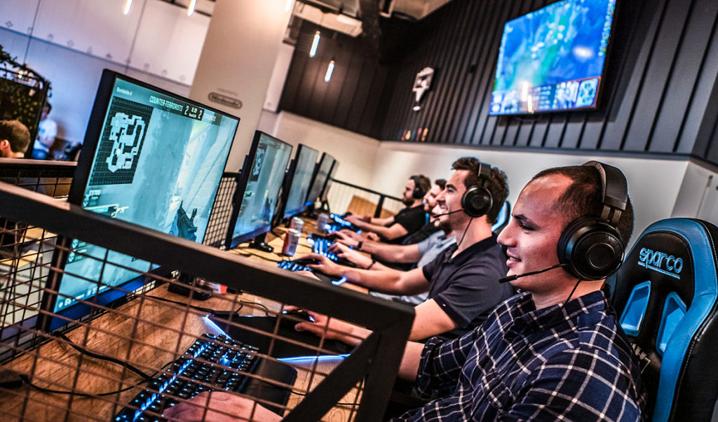 Platform Shoreditch visitors playing call of duty on eSports computers